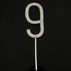 Stunning Wedding Party Clear Rhinestone Diamante Number 9 Cake Topper