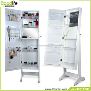 White cabinet accessories storage mirror with PP/PC shelves