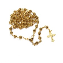 Collier Vintage chapelet croix calice Rose doré chapelet orthodoxe <span class=keywords><strong>catholique</strong></span> en métal
