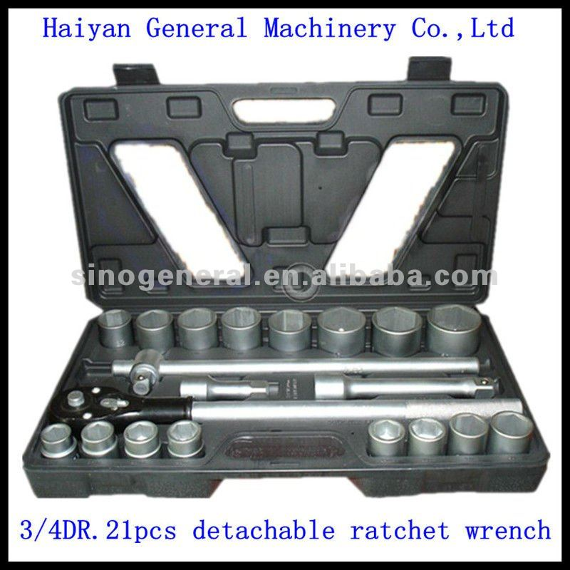 "21pcs 3/4"" DR.socket wrench set complete tool kits"