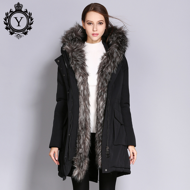 609522b28eda9 COUTUDI 2017 New Arrival Winter Jacket Coat Women s Clothing Thick Warm  Female Parkas Big Faux Fur