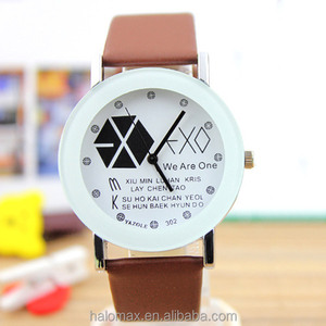 EXO Style Lover Quartz Watch Casual Dress PU Watches Unisex Student Clock For Men Women