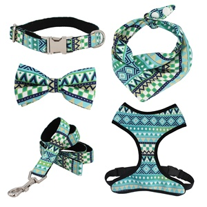 geometry dog collar bow leash harness and bandana sets personal custom adjustable collar