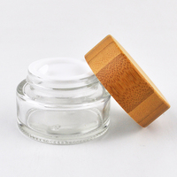 100ml frosted clear eye cream skincare eco glass bottle for cosmetics with bamboo lid