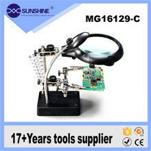 Professional 2.5x 7.5x 10x inspection magnifying glass with Soldering Iron Stand for soldering