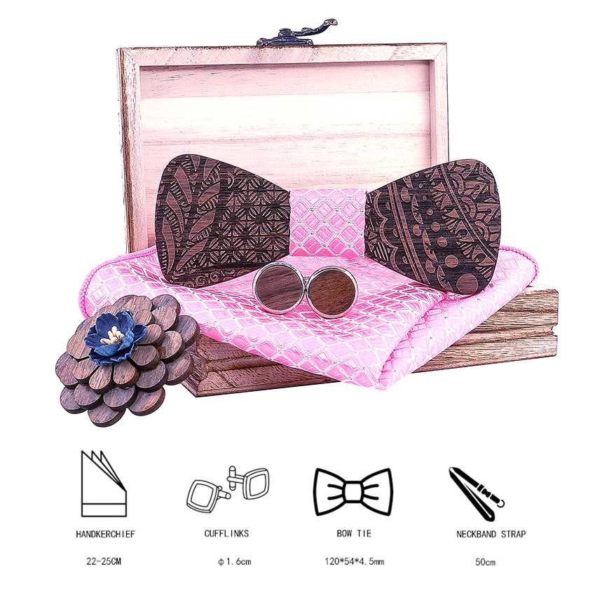 New Arrival 5  Pieces Wooden tie Handkerchief Cufflinks Fashion Wood Bow Tie Wedding Dinner Handmade Bowties