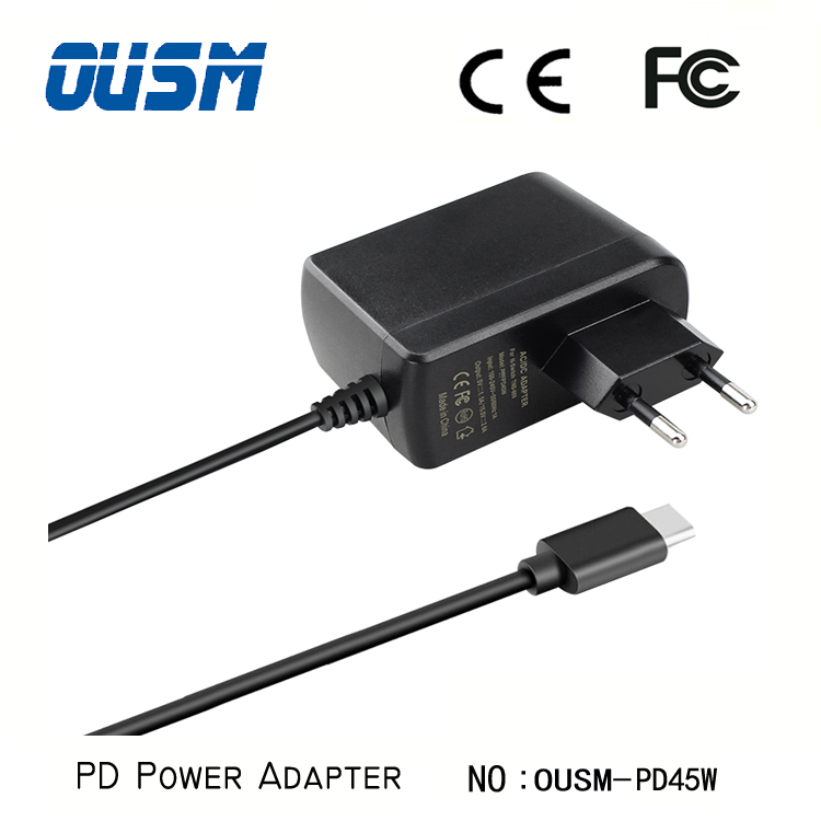 Power Adapter PD 45W Qc 3.0 Type C Port Fast Phone Charger With US/UK/EU Plug