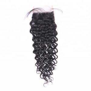 Free/ Middle/ Three Part Curly Human Hair with Closure 4x4 For Baby Hair