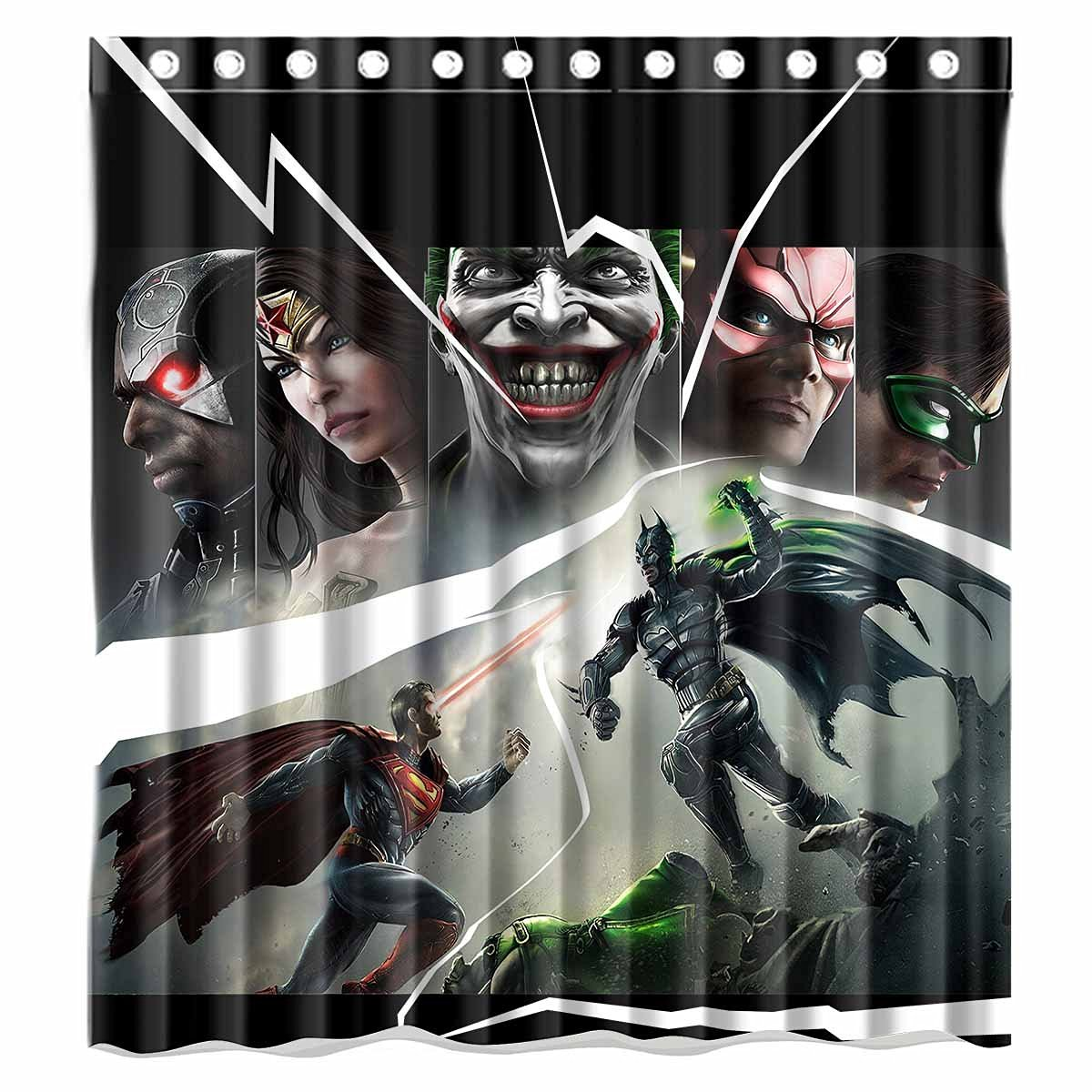 Custom Comic Justice League Batman Superman And Wonder Woman Waterproof Polyester Fabric Bathroom Shower Curtain Standard