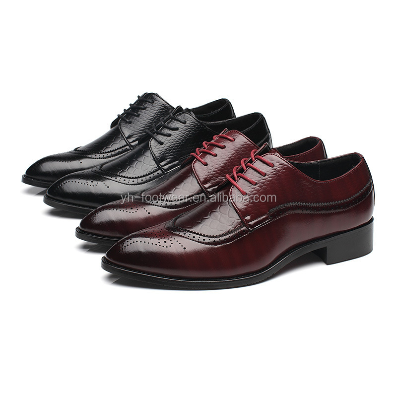 Brogue business men dress shoes Crocodile pattern leather men oxford shoes