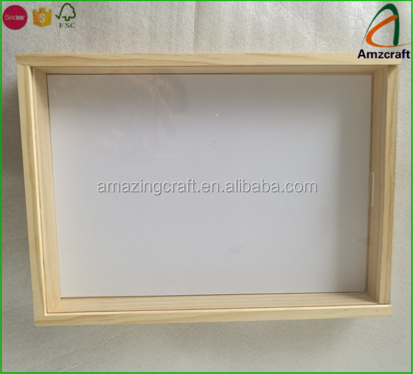 A4 Size Pine Solid Wood Sliding Glass Lid Keepsake Box Buy Wood