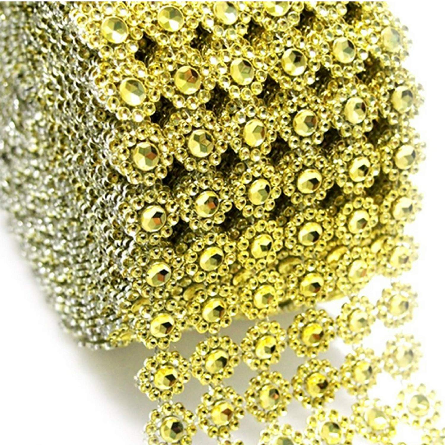 Gold, 30 Ft AkoaDa Silver Bling Diamond Wrap Ribbon for Event Decorations Bridal /& Party Decorations Acrylic Bling Rhinestone Roll Bling Rhinestone Diamond Ribbon Wedding Cake