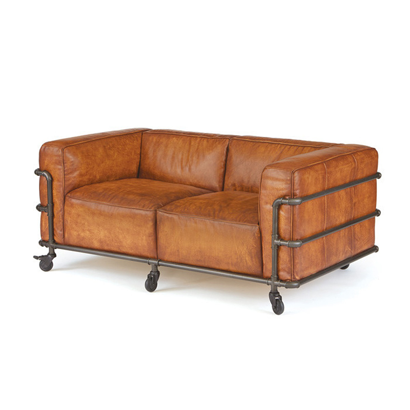 Euro Design Top Grain Aniline Leather Pipe Lounges Sofa