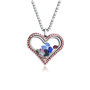 Silver plated heart shaped stainless steel floating glass lockets jewelry fashion pendant(NC-092)