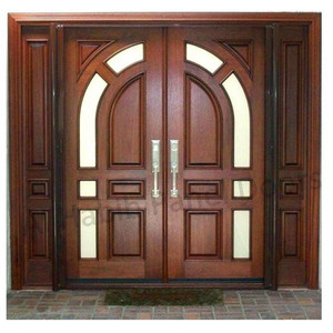 Custom double entry door exterior wooden door front door design