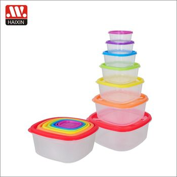 Hot Sale 7pcs/5pcs/3pcs Rainbow Round/square Meal Prep Plastic Food Storage