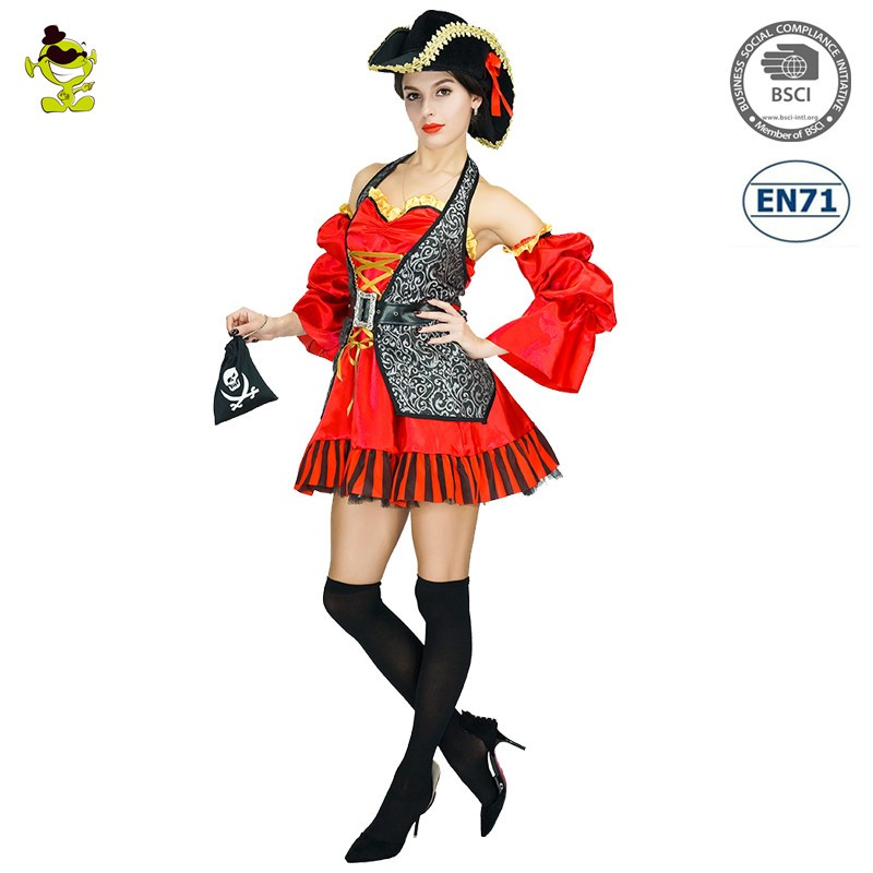 2020 Trending Products New Carnival Party Premium Spanish Pirate Costumes Halloween Cosplay Party Pirate Costume For Women