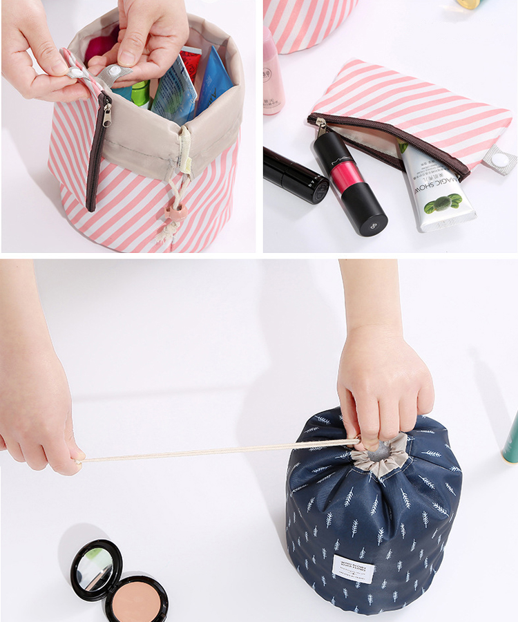 Travel Circular Barrel Shaped Flamingo Printed Round 600d Cosmetic Pouch Bag Drawstring Makeup Bag