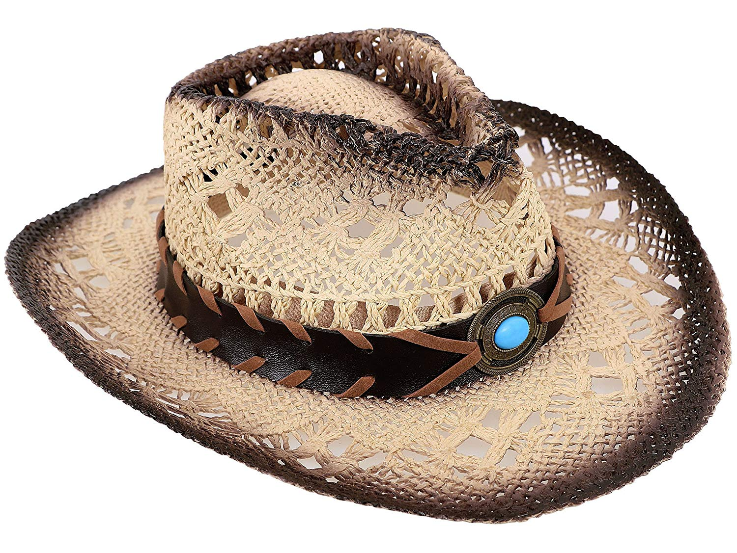 6309f7254d779 Get Quotations · AbbyLexi Cowboy Cowgirl Straw Hat Wide Brim Beach Sun Hats  for Kids Childs