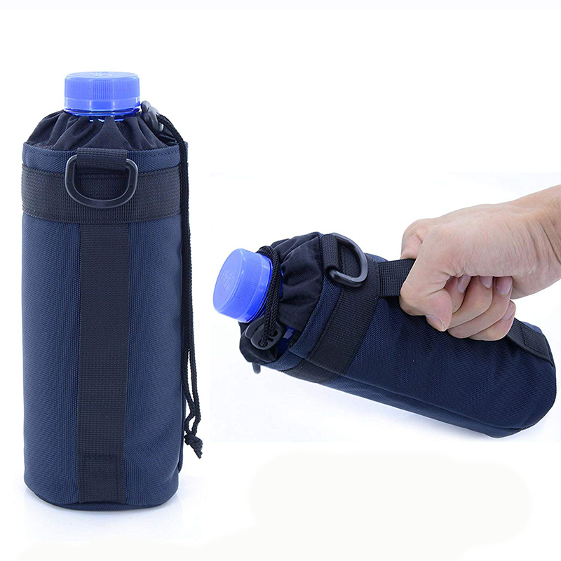 Drawstring Closure Bottle Holder Pouch With Belt Handle