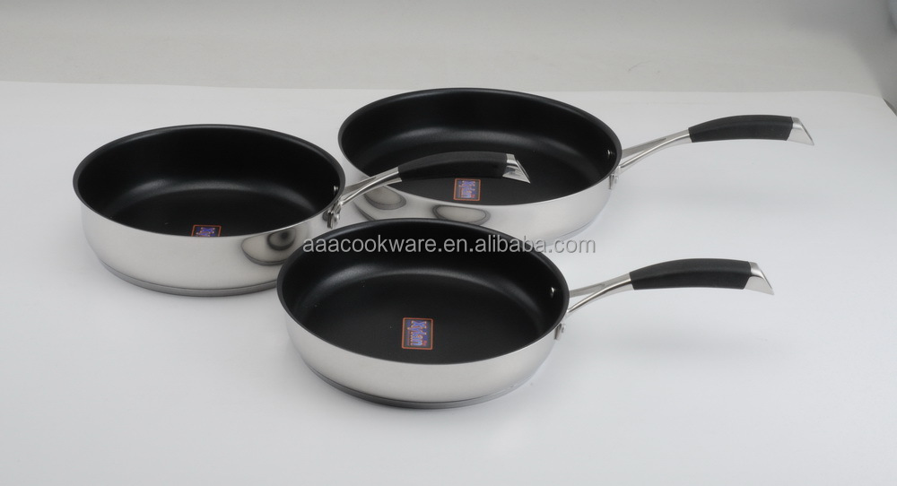 [BSCI Member] 3pce open frypan set set Xylan nonstick coating 18/10 304 202 201 Dishwasher safe