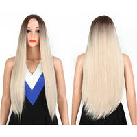 2019 High Quality Beautiful Synthetic Ombre Long Straight Hair Lace Blonde Wig