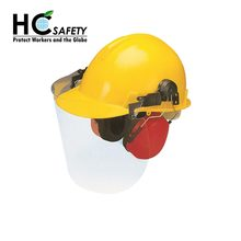 H57 CE EN397 Class E safety helmet with face visor and earmuffs