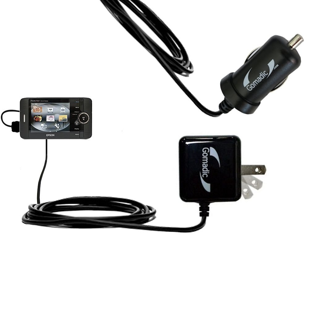 Essential Gomadic AC /DC Charge Accessory Bundle for the Epson P-2000 / P-4000 / P-5000. Kit includes the Gomadic Home and Car Chargers at a Money Saving Price. Based on TipExchange Technology
