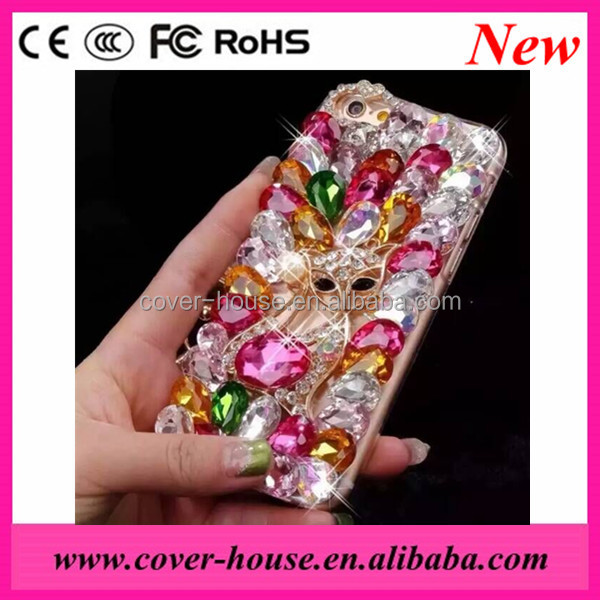 2016 Luxury Handmade 3D Fox Big Rhinestones TPU PC Cover Case for iPhone 6 6S Bling bling Crystal mobile phone case