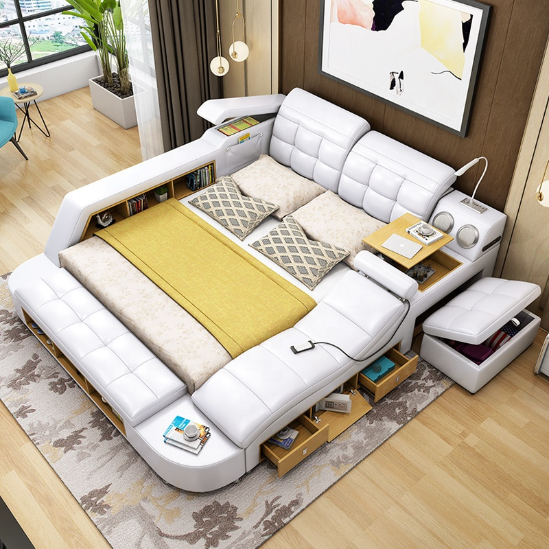 New arrival high quality multifunctional intelligent storage furniture tatami leather bed M18