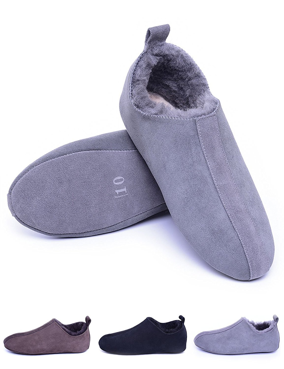 Eucoz Men Sheepskin Slippers, Shearling Lined House Slippers Indoor,Comfort Soft Leather Sole, Slip On,Unisex