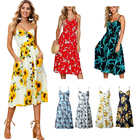 Fashion Clothing Women Dress Sexy Sunflower Pineapple Flower Printed 36 Pattern Casual Dresses