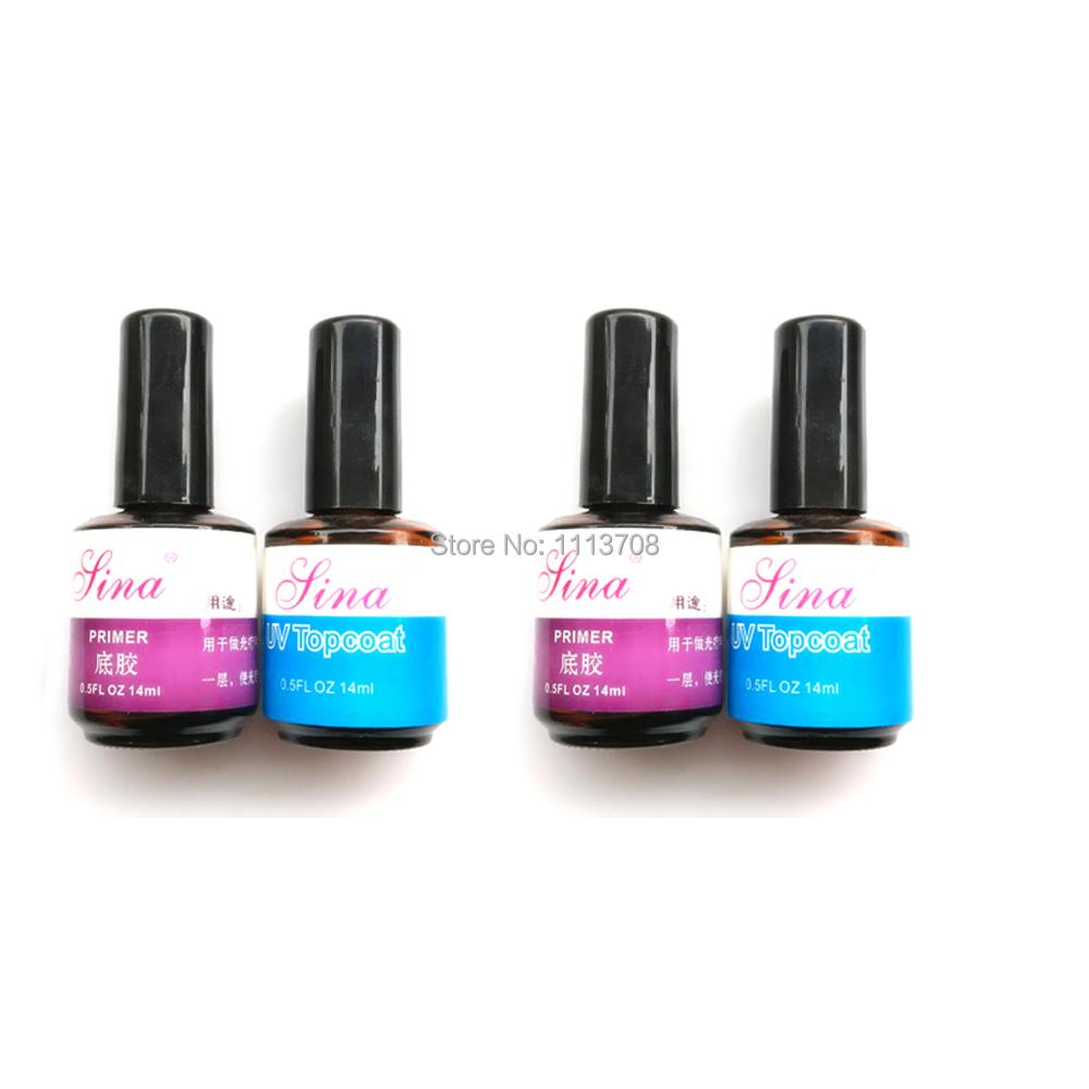 Free shipping 2lots UV Top Coat Primer Base Gel Nail Art Tips Builder Acrylic Polish Set