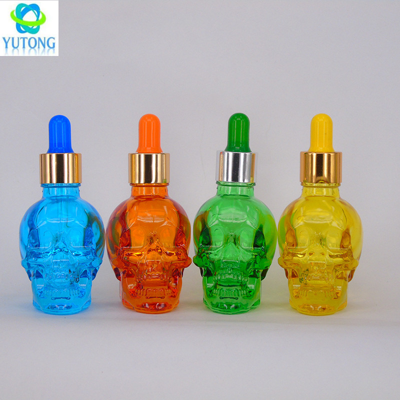 30ml 60ml 120ml skull nail polish glass dropper bottle for essential oil