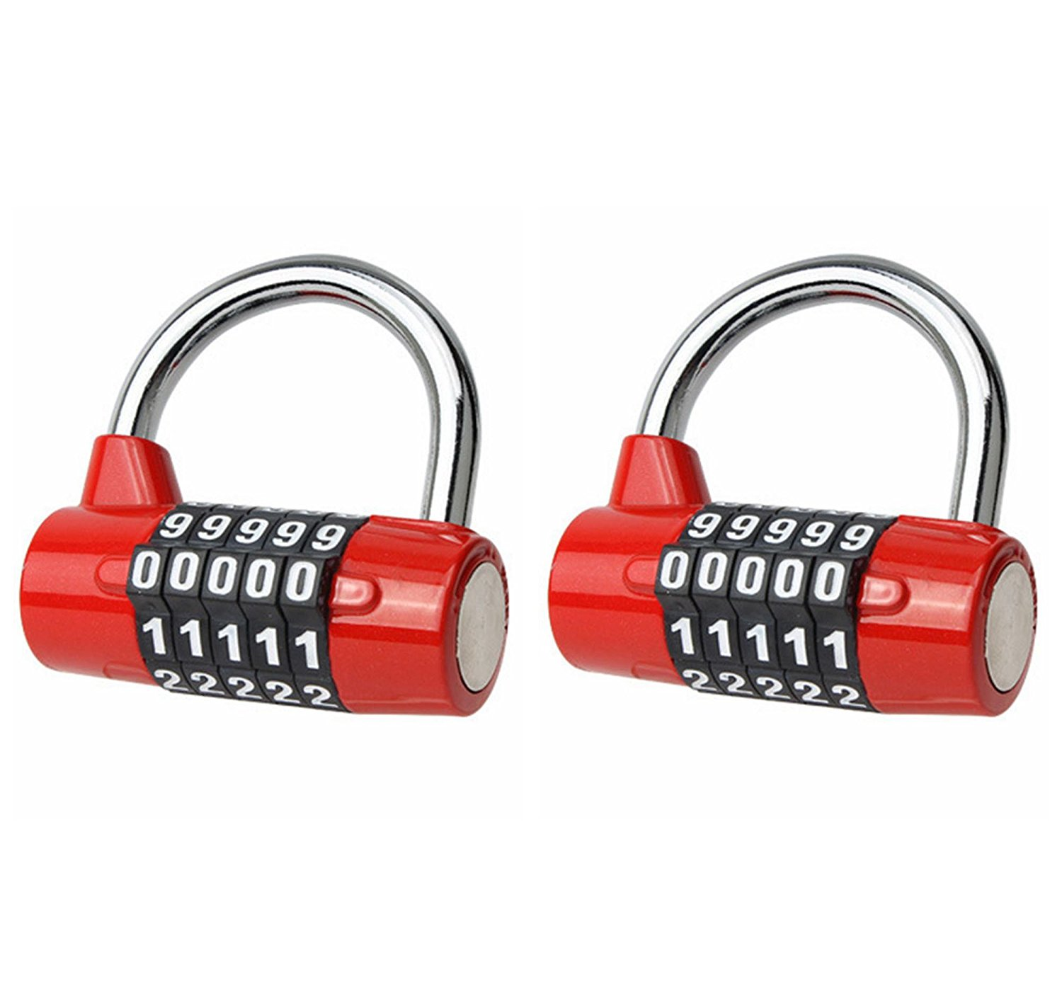 L-Anan Combination Lock, 5-Digit Re-settable Padlock, Security Padlock, Gym Lock, Lock Padlock for School, Home, Office, Travel, Gym, Bicycle, Toolbox, Luggage, Cabinet (2 Pack) (Red)