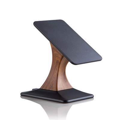 Desktop rotating vertical wood phone holder charger with wireless charger