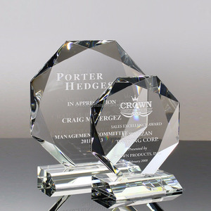 Laser engraved clear crystal octagon awards
