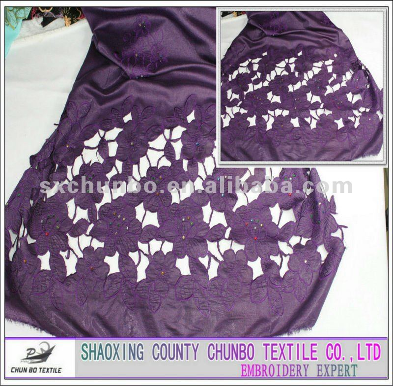 purple silk fabrics with sequin embroider skirt embroidery fabic for wedding and fashion garment