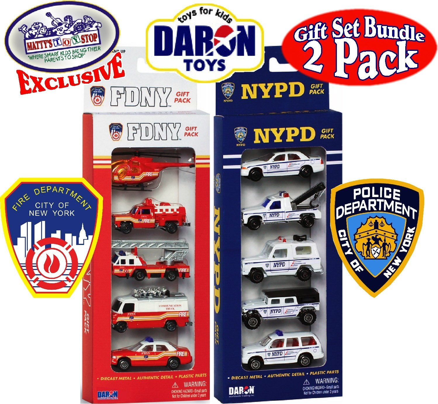 """Daron FDNY (Fire Department City of New York) & NYPD (New York City Police Department) Emergency Vehicles """"Matty's Toy Stop"""" Exclusive Gift Set Bundle - 2 Pack (10 Vehicles Total)"""