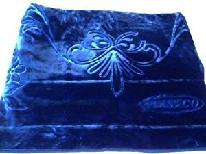 Solaron Classic Blue Korean Thick Mink Plush Embossed Queen Size Blanket