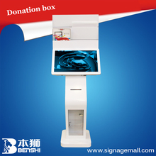 22''TFT full color touch screen monitor with 3g/wifi network and andriod/win system,donation box and brochure holder for mall