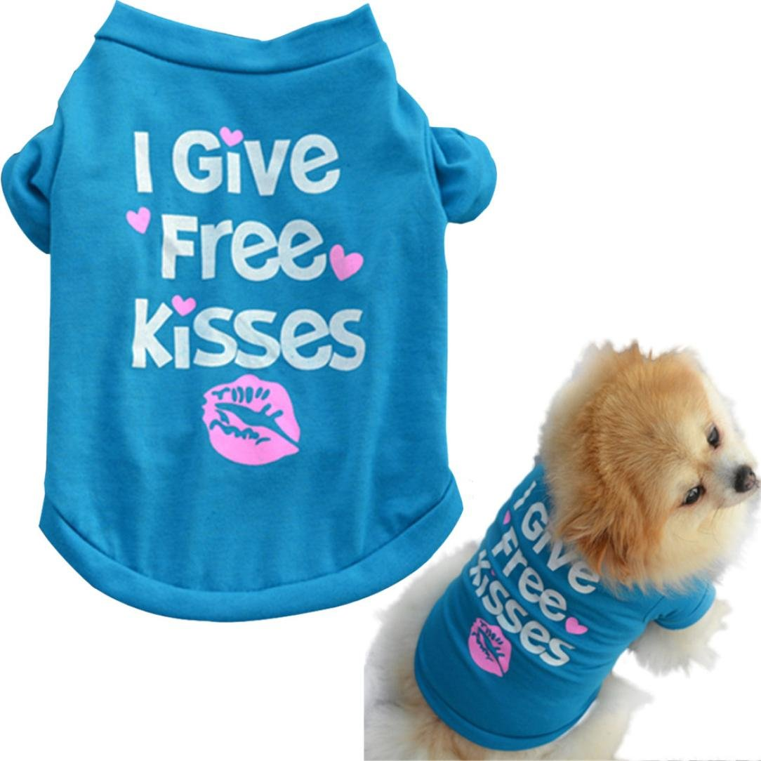 Howstar Pet Shirts Super Cute Puppy T Shirt Kisses Printed Dogs Summer Vest Costumes Cat Tank Top