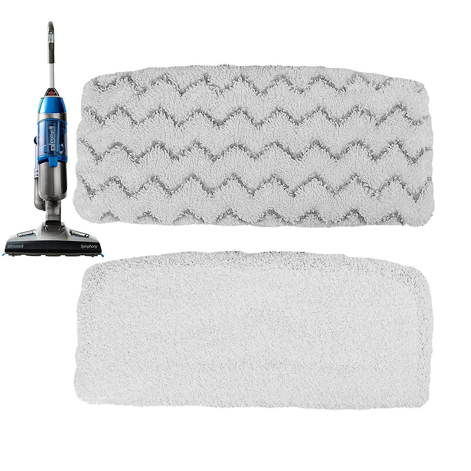 First4Spares Steam Mop Pad Kit for Bissell 1252 Symphony Hard Floor Vacuum Steam Cleaner