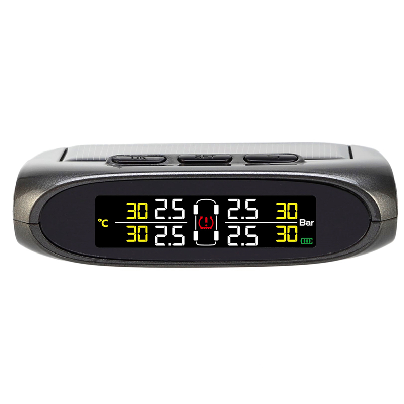 Car tire monitoring system solar tpms powered with external sensor and build in battery