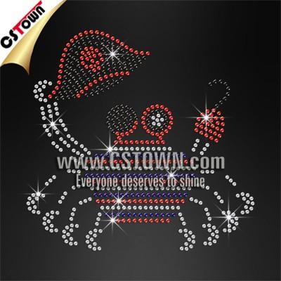 Pirate crab wholesale OES custom rhinestone transfer For T shirts