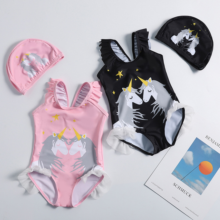 2019 cartoon design chinlon summer  baby girl swimwear