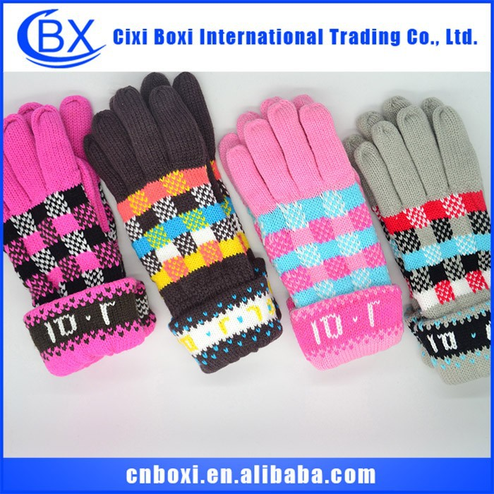 2015 new style paypal accept small order acylic color keep warm custom long knitted gloves