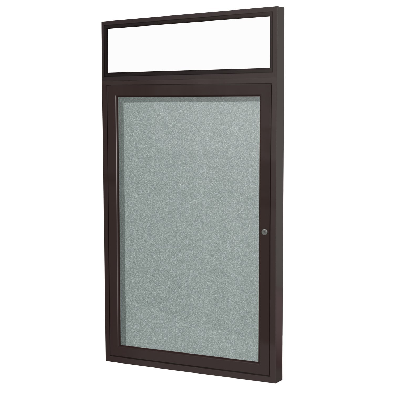 """1 Door Outdoor Enclosed Bulletin Board Surface Color: Silver, Size: 3' H x 2'6"""" W, Frame Finish: Bronze"""