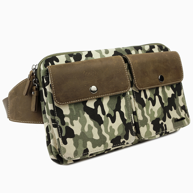 Camouflage canvas and leather waist bag/belt bag for men