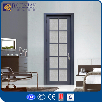 Rogenilan Modern Design Tempered Glass Door Design Aluminum Fiber Bathroom  Door